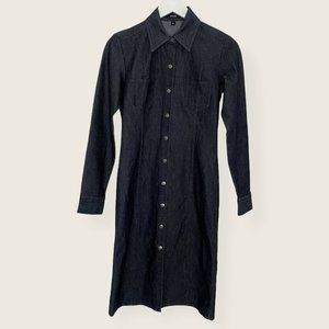 Vintage Y2K Denim Shirt Dress with Snap Buttons